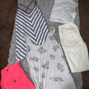 Maurices Lot! Tank, Tee, white pants, pink shorts